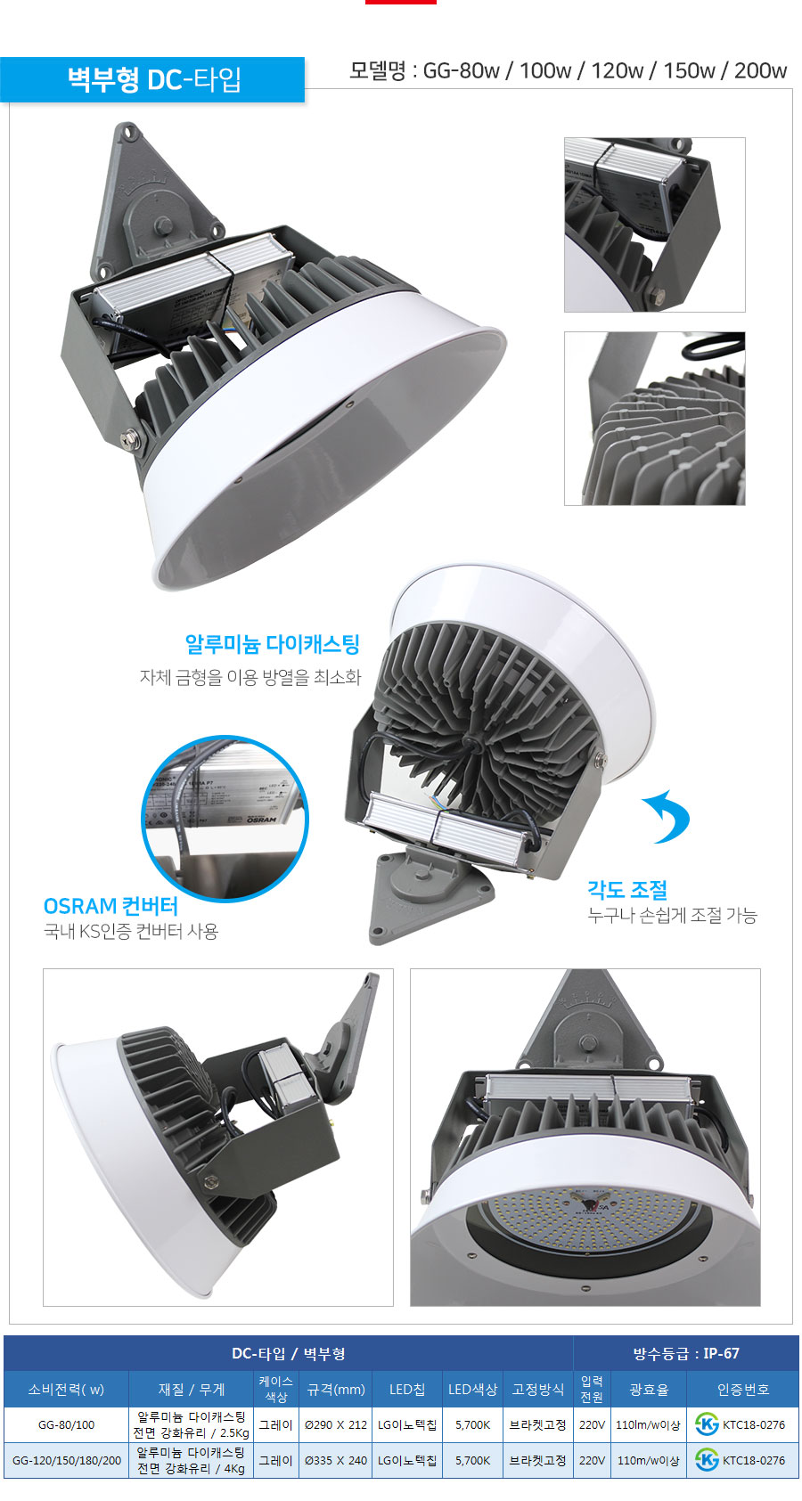 제로조명 LED공장등 80w 100w 120w 150w 180w 200w DC타입