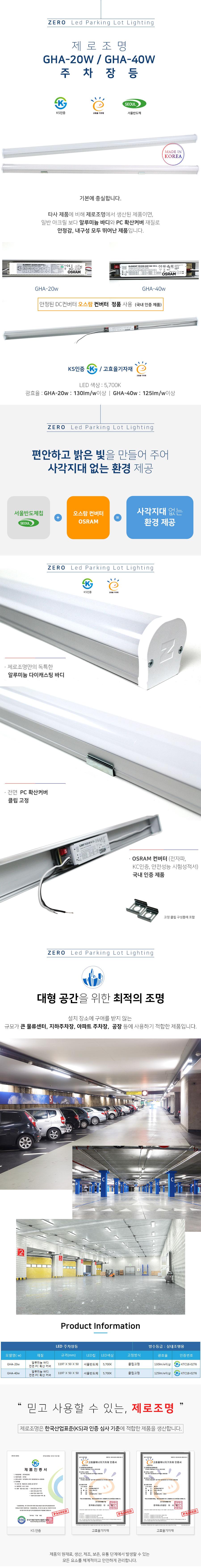 KS 고효율 LED 주차장등 20w  40w
