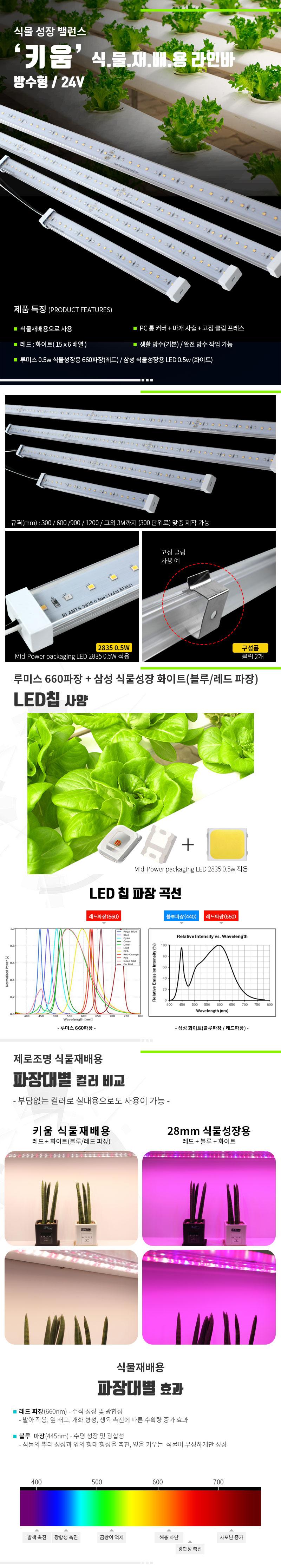 제로조명 키움 식물재배용 LED라인바