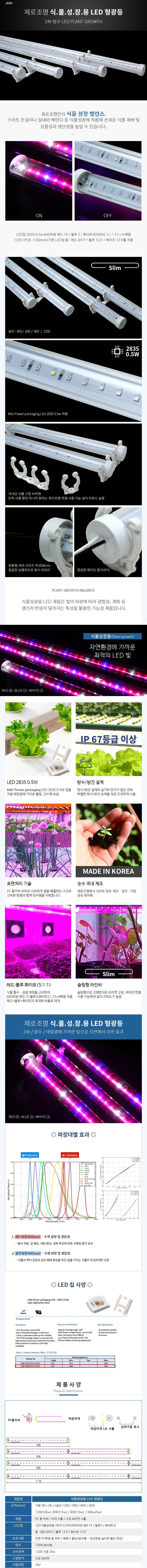제로조명 식물성장용 LED형광등